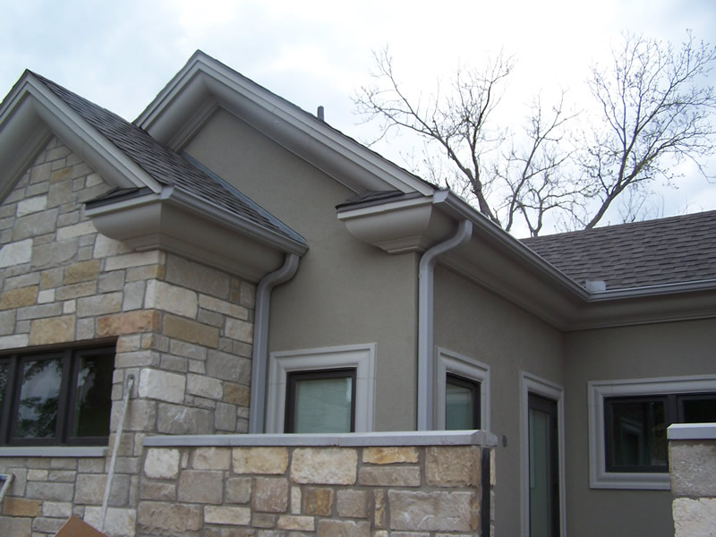5 Inch Seamless K Style Gutter In Colonial Gray With 3x4 Downspout